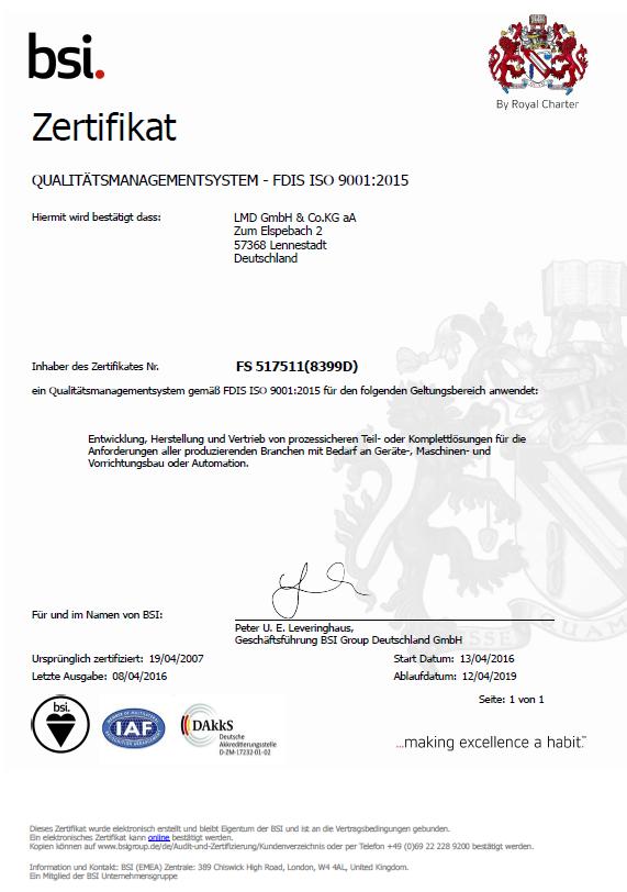 Qm Zertifikat Lmd 2016